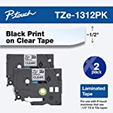 "Brother TZe1312PK 1/2"" Standard Laminated P-Touch Tape, Black on Clear, 26.2 Feet (2-Pack)"