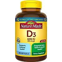 Nature Made Vitamin D3 1000 IU(25 mcg) 软胶囊,300粒,有益于机体和骨头†(包装可能有所不同)