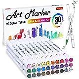 30种颜色的双头酒精基艺术马克笔,Shuttle Art 酒精马克笔笔,非常适合儿童成人着色书籍素描和卡片制作