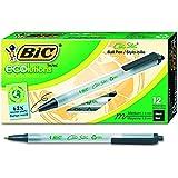 BIC ECOlutions 可伸缩圆珠笔,中等笔尖(1.0 毫米) retractable 12-Count 黑色