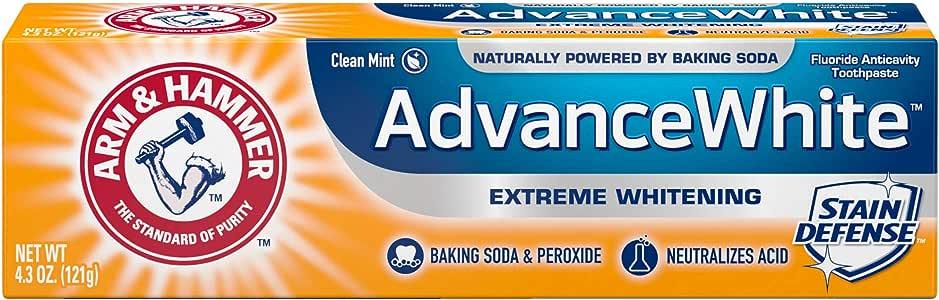 Arm & Hammer 高级白牙膏,*烘焙苏打和过氧化物,4.3 盎司管,包装或有不同 4.3 oz (Pack of 6)