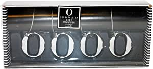 Cosmopolitan Home by Mud Pie, Set of Four Metal Charm Napkin Rings with Monogram 'O'