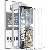 苹果 iPhone 11 和 iPhone XR 纯度屏幕保护膜 - 3 件装(带安装框架)钢化玻璃屏幕保护膜,兼容 iPhone 11 / [适合大多数保护套]UU000070 iPhone XR