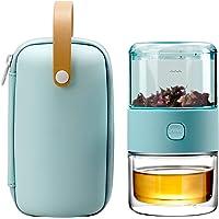 ZENS 旅行茶具套装,Tritan 便携式茶壶冲泡器套装,适用于松散叶茶、茶壶和200毫升双壁茶杯,含旅行盒(浅*)