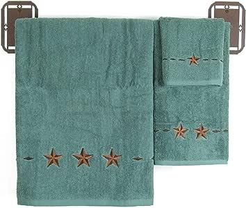 """HiEnd Accents 3 件西部浴巾套装 蓝* Bath Towel: 27"""" x 52"""", Hand Towel: 16"""" x 32"""", Finger Towel: 13"""" x 14"""" TW2010-OS-TQ"""