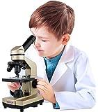 Click N' Play 儿童显微镜 3种放大倍率(40x 100x 400x)包括幻灯片科学实验与配件 便携式学生金属显微镜 52配件套装