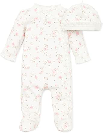 Little Me Layette Footie, Rose Floral, Ivory Print