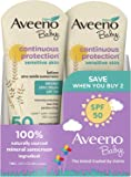 AVEENO Baby 持续保护敏感肌肤乳液氧化锌*霜 SPF 50 3 盎司(2 件装)