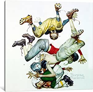 iCanvasART 1533-1PC6-18x18 First Down 'Four Sporting Boys: Football' Canvas Print by Norman Rockwell, 1.5 by 18 by 18-Inch
