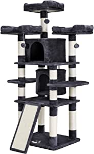 """SONGMICS Cat Tree Condo with Scratching Post Pad Cat Tower Furniture House 暗灰色 38 3/8""""L x 31 1/2""""W x 66 7/8""""H"""