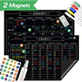 "Magnetic Behavior Chalkboard Chore Chart - 17""x11"" - Dry Erase Refrigerator Reward Incentive for Kids - Reusable Monthly Calendar - Multiple Family Responsibility Magnet - Toddler Children Teen Adult"