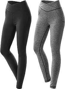 女式锻炼紧身裤压缩瑜伽裤高腰流线型设计健身运动健身跑步裤