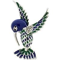 Jodie 玫瑰蓝色和绿色珐琅鸟胸针