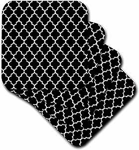 3dRose cst_120253_2 Black Quatrefoil Pattern Stylish Moroccan Tile Style Modern Elegant Geometric Clover Lattice Soft Coasters, Set of 8