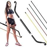 Synergee Resistance Bow。 便携式家用健身房,带阻力带和杠杆系统。 带手柄的可折叠阻力杆。 全身锻炼,适合家庭、旅行或户外。