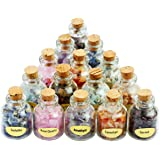 SUNYIK 滚磨碎碎石许愿瓶套装,水晶* Reiki Wicca 宝石套装 #1-9 Mini Bottles(var…