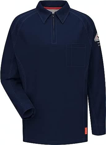 Bulwark 男式 Iq 系列 大加长长袖舒适针织 Polo 衫 深蓝色 XX-Large Tall