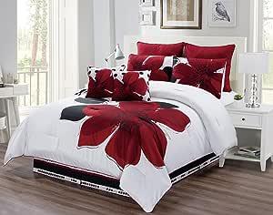 Grand Linen 8 件套 - *红色,黑色,白色,灰色超大被子套装 花卉精美印花床上用品 *红色 两个