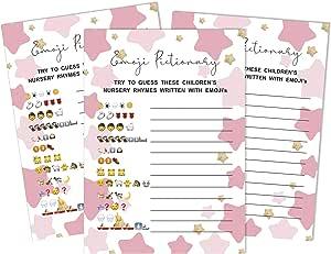 Inkdotpot 性别 Reveal 婴儿淋浴游戏套装 50 个字母表 ABC 游戏星际派对用品 Nursery_rhymes 5 x 7 Inches PA-903526-IMS-GR-BBS79L