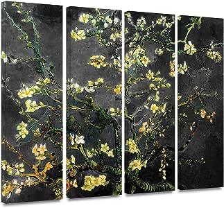 ArtWall 4 件文森特梵高杏仁花解释画廊装裱油画艺术品,60.96 x 91.44 cm,大丽黑