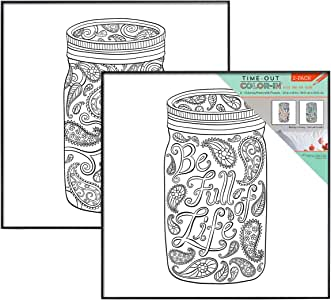 MCS Time-Out Color-In Framed Adult Coloring Pages in Mason Jar Designs, includes MCS Format Frames, 12 by 12 inch - 2 Pack