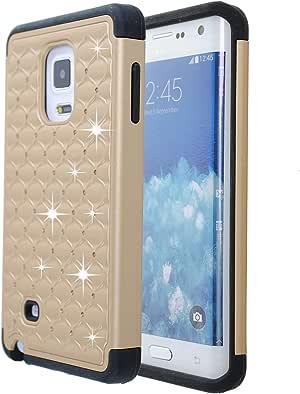 GALAXY NOTE edge 手机壳 guardful [ 防震 ] 信用卡手机壳 [ 双层 ] 防护混合保护套 [ 硬币站立 ] with ONE 卡槽钱包适用于 Galaxy Note Edge Bling Gold
