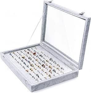 Hivory 手镯和珠宝收纳盒 - 透明盖子 - 黑色天鹅绒 - 用于整理和解冻手镯、手镯和手表、戒指和耳环 - 女士青少年和女孩的珠宝收纳盒 灰色