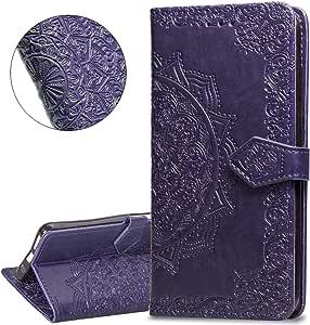 HMTECHUS 三星 Note 9 手机壳 纯色外壳卡槽 PU 优质皮革耐用钱包挂绳书式磁翻转支架防震保护套三星 Galaxy Note 9