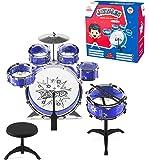 EMAAS 12 件爵士鼓套装适合儿童 – 6 个鼓、2 个鼓槌、踢踏踏板、镲片椅、凳子 – 送给孩子、男孩和女孩的理想礼物 – 刺激音乐人才想象力和创造力