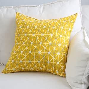 Aimeer 家居装饰沙发/床抱枕靠垫套隐形拉链,多色大号亚麻枕套 黄色 24 X 24 Inch U-TPC05-6060A