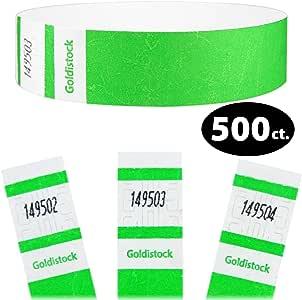Goldistock 精选系列 - 1.9cm Tyvek 腕带 500 只装塑料袋 - 活动识别腕带(纸片 - 如纹理) #10- Neon Green