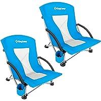 KingCamp 低吊带沙滩野营音乐会折叠椅,低和高网背两件套 Blue-2 Pack