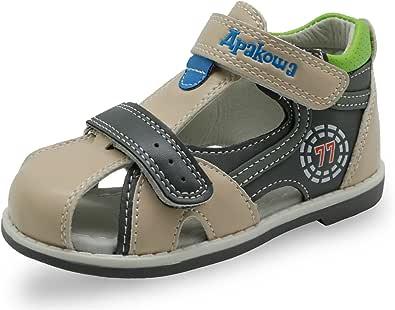 Apakowa 男孩和女孩双可调节系带闭趾凉鞋 米色 5 M US Toddler