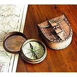 仿古铜 Poem 指南针,带皮革盒