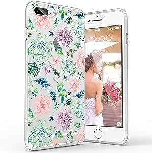 iPhone 8 Plus 手机壳,女孩 iPhone 7 Plus 手机壳,Custype 花卉柔软 TPU 防震防刮保护弹性手机壳,适用于 iPhone 7 Plus/iPhone 8 Plus 5.5 inches 花卉 06