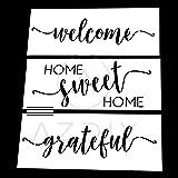 AZDIY 可重复使用模板套装 - 2 或 3 个设计家庭甜蜜家庭模板 带月桂花环 30.48 厘米 x 30.48 厘米 - 用于木上绘的文字模板 - 激光切割绘画模板 - 用于家居装饰和 DIY 项目 3 Type Design