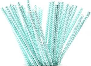 FiveSeasonStuff 100 只装 * 可生物降解纸饮用吸管,适用于婚礼、生日、淋浴、洗礼、订婚、毕业典礼、新年 Vintage White | Baby Blue Chevron Zig Zag
