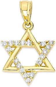 10k 纯金大卫之星吊坠套装,镶有方晶锆石,精美宗教饰品,适合Bar-Mitzvah 或 Bat-Mitzvah