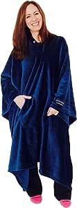 throwbee 原创毛毯 - 斗篷蓝色(Yay! NO SLEEVES)可穿戴戴*舒适且*柔软!!! 室内或室外 - 男式女式儿童