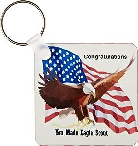 3dRose 美国国旗与鹰图案,祝福鹰侦察 - 钥匙链,5.72 x 11.43 厘米,2 件套 (kc_171757_1)