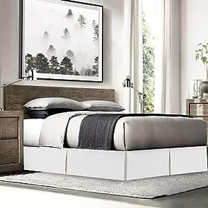Empyrean Bedding 高级床裙床罩边角别针 - 110 GSM 厚实结实面料 - 定制褶皱 白色 两个 EB-bds-pns-t-wht