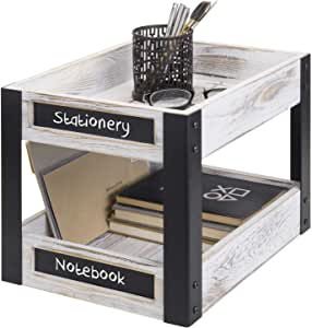 MyGift 2 层工业风格金属和白洗木桌面文件架带黑板标签