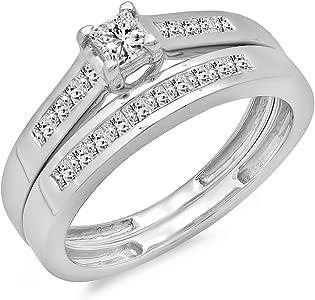0.55 Carat (ctw)14k White Gold Princess Diamond Ladies Bridal Ring Engagement Matching Band Set 1/2 CT (Size 6)