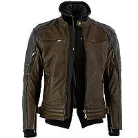 Bikers Gear Australia 新款疯狂打蜡牛巴革高级皮革带可拆卸连帽衫摩托车夹克,CE 1621-1 可拆卸 5 件盔甲 3XL 棕色 LJ11103X