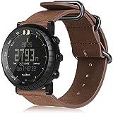 Suunto Core 手表腕带,Fintie 真皮表带替换腕带,金属扣,Suunto Core 智能手表 复古棕色