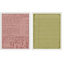 sizzix 拼贴和笔记本套装 由 tim holtz texture 褪色浮雕文件夹,2 个装,多色