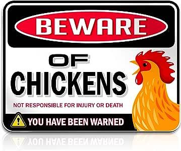 Beware of Chickens 警告标牌 | 22.86cm x 30.48cm | 危险标牌 趣味恶作剧礼物 送给鸡迷爱好者 | 刚性 PVC | 室内/室外 | 鸡/公鸡牌匾标牌,美国制造 警惕 9x12