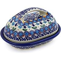 Polish Pottery 7 英寸黄油盘(蓝色郁金香花园主题)UNIKAT签名+防伪证书