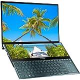 华硕 ZenBook Pro Duo UX581GV 15.6 英寸 4K 双触摸屏 Alexa 笔记本电脑(蓝色)(英特尔 i7-9750H,512 GB PCI-e SSD,16 GB RAM,NVIDIA GeForce RTX 2060 6 GB 显卡,Win 10)