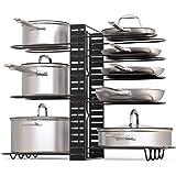 锅架收纳盒,3 种 DIY 方式,高度和位置可调,8 个以上锅架,黑色金属厨房橱柜柜柜柜柜柜柜柜柜柜柜柜柜柜柜柜柜柜子锅盖支架